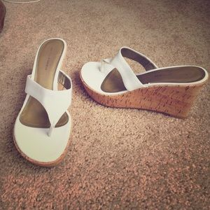 Marc Fisher White wedge sandals